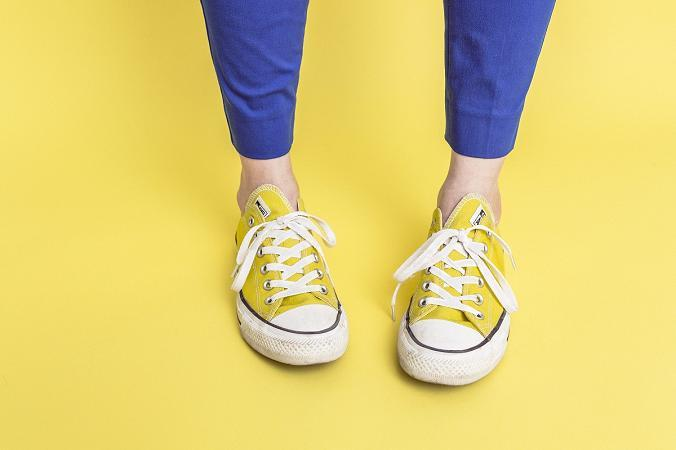 Yellow Shoes, solid background